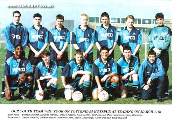 Wycombe Wanderers Youth Team picture - taken 11th March 1995 as published in First Team matchday programme