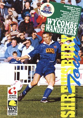 Darren Currie pictured on the front of the Shrewsbury v Wycombe programme from February 1995