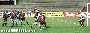 Did anybody get a touch? - Wycombe's goal at Dalymount - picture Paul Lewis