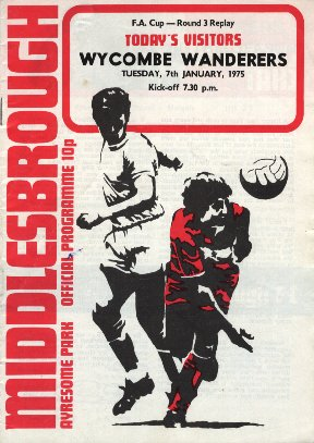 Middlesbrough v Wycombe - programme cover