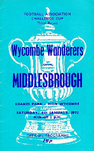 Wycombe v Middlesbrough - programme cover