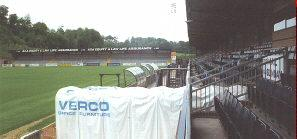 The Old Main Stand at Adams Park - A view towards the home end section