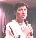 Lawrie Sanchez talking to Wycombe fans in The Vere Suite - picture copyright Chairboys on the Net