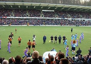 The teams come out at the start of a great day for Wycombe fans - picture Paul Lewis